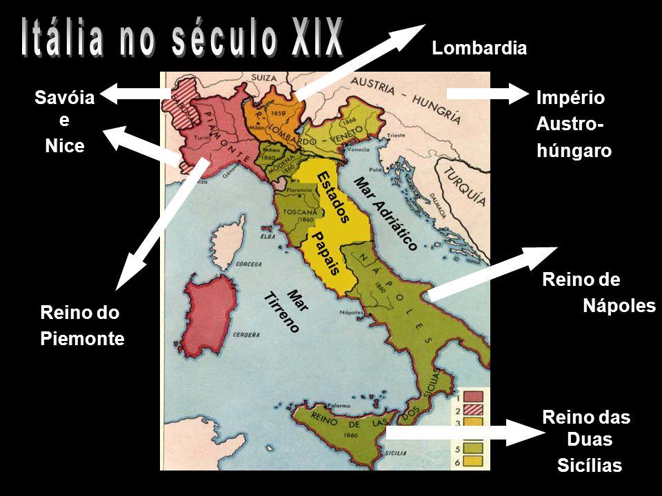 Itália no século XIX Lombardia Savóia e Nice Império Austro- húngaro