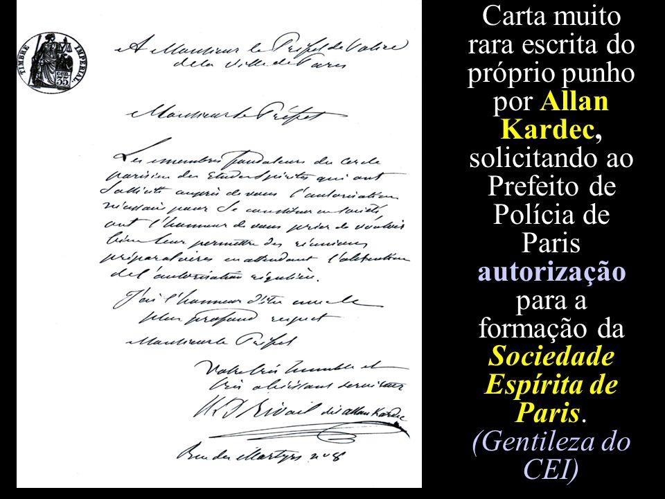 Carta muito rara escrita do próprio punho por Allan Kardec, solicitando ao Prefeito de Polícia de Paris autorização para a formação da Sociedade Espírita de Paris.
