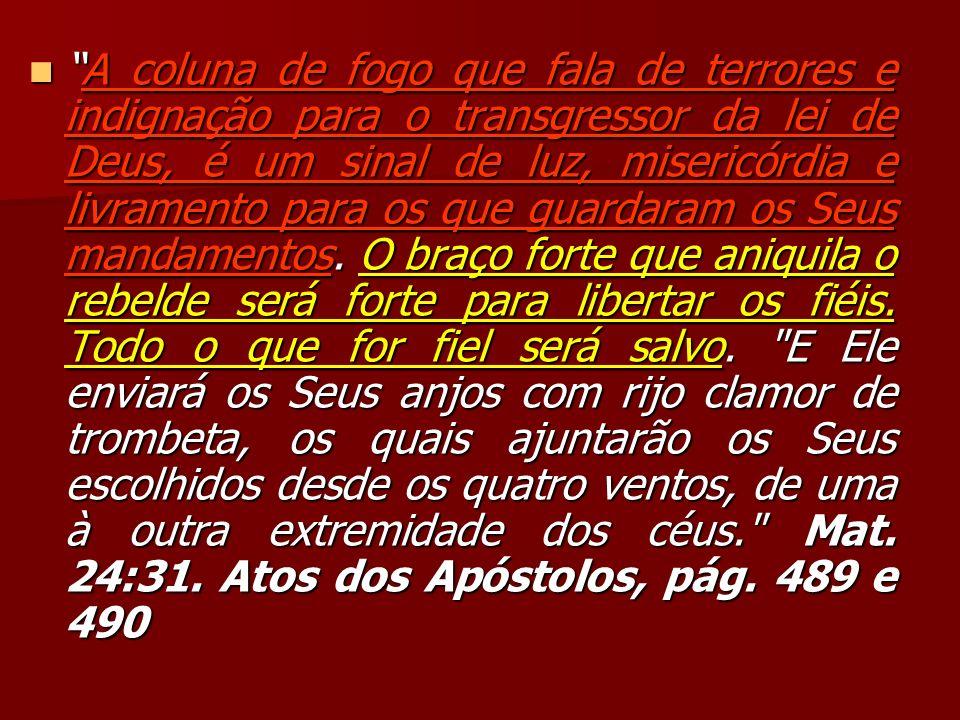 A coluna de fogo que fala de terrores e indignação para o transgressor da lei de Deus, é um sinal de luz, misericórdia e livramento para os que guardaram os Seus mandamentos.
