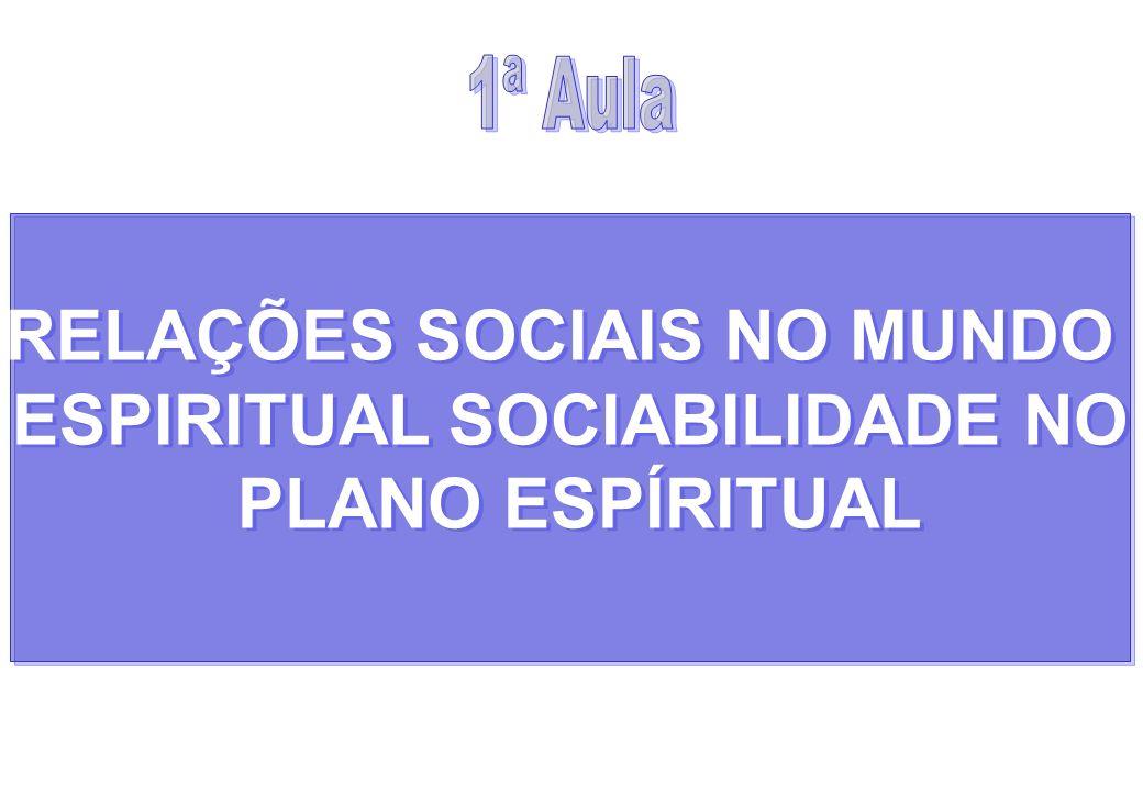 RELAÇÕES SOCIAIS NO MUNDO ESPIRITUAL SOCIABILIDADE NO