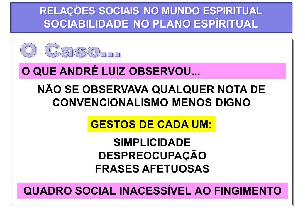 O Caso... SOCIABILIDADE NO PLANO ESPÍRITUAL