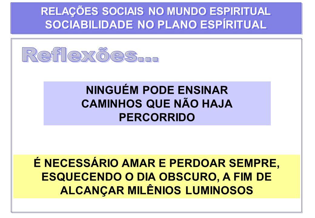 RELAÇÕES SOCIAIS NO MUNDO ESPIRITUAL SOCIABILIDADE NO PLANO ESPÍRITUAL