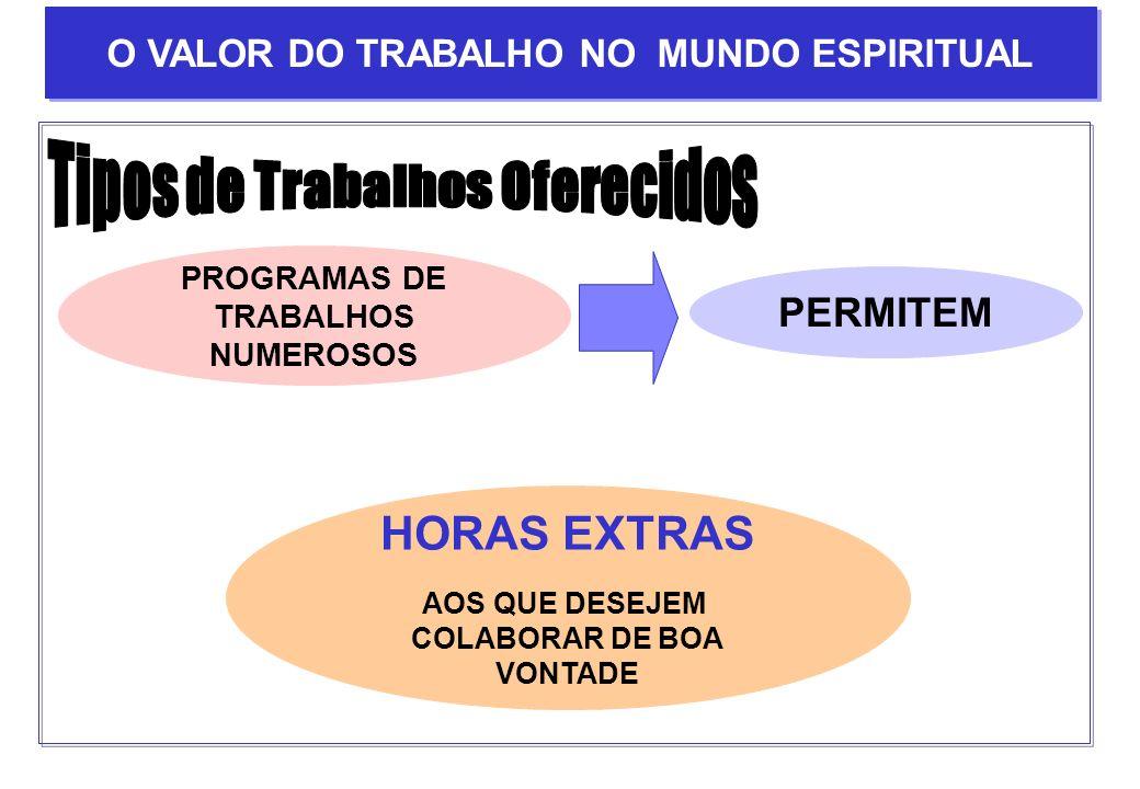 O VALOR DO TRABALHO NO MUNDO ESPIRITUAL Tipos de Trabalhos Oferecidos