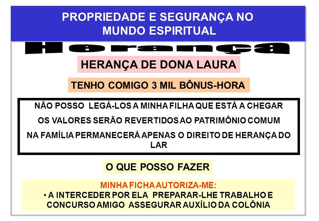 Herança PROPRIEDADE E SEGURANÇA NO MUNDO ESPIRITUAL