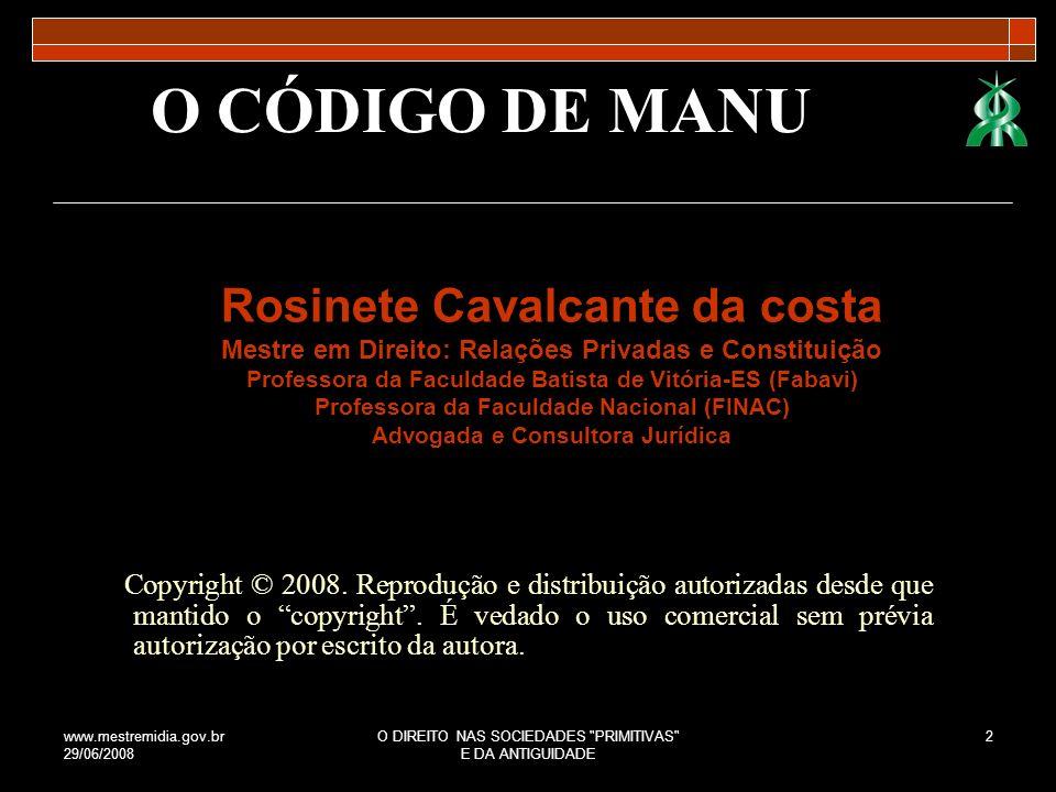 O CÓDIGO DE MANU Rosinete Cavalcante da costa