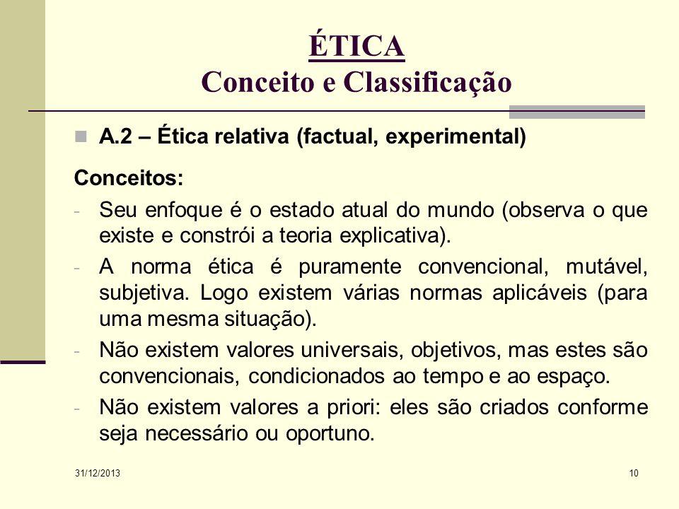 ÉTICA Conceito e Classificação