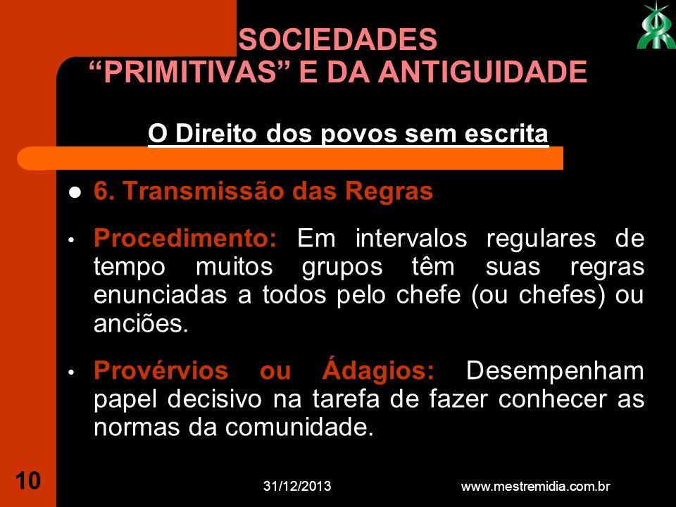 SOCIEDADES PRIMITIVAS E DA ANTIGUIDADE