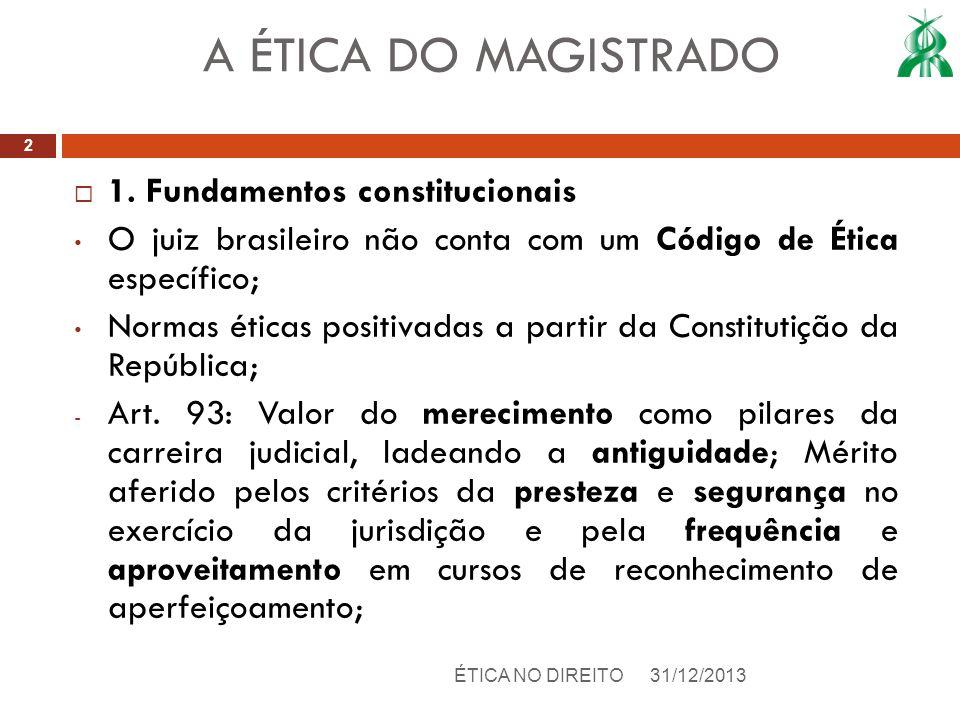 A ÉTICA DO MAGISTRADO 1. Fundamentos constitucionais
