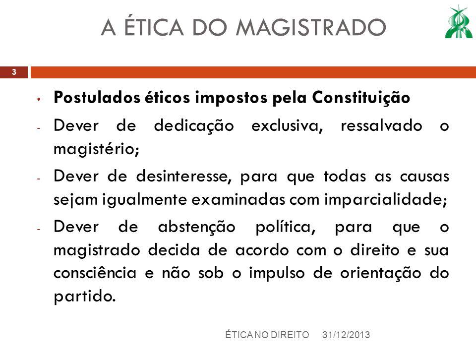 A ÉTICA DO MAGISTRADO Postulados éticos impostos pela Constituição