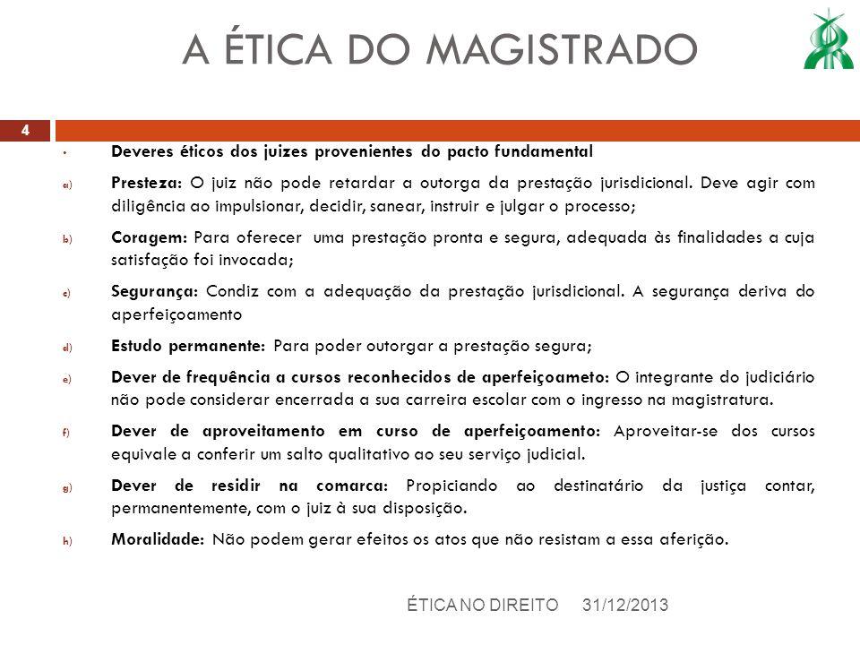 A ÉTICA DO MAGISTRADODeveres éticos dos juizes provenientes do pacto fundamental.