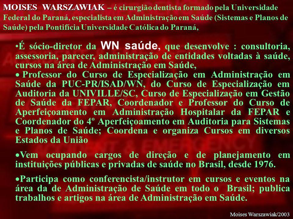 MOISES WARSZAWIAK – é cirurgião dentista formado pela Universidade Federal do Paraná, especialista em Administração em Saúde (Sistemas e Planos de Saúde) pela Pontifícia Universidade Católica do Paraná,