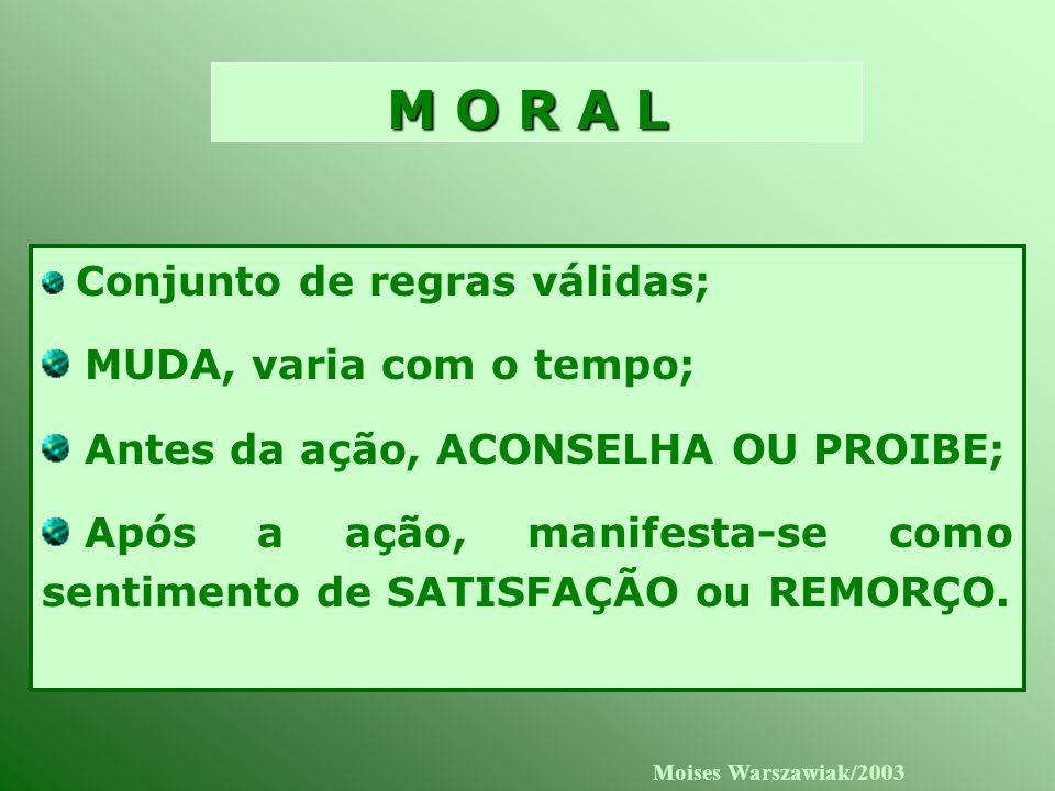 M O R A L MUDA, varia com o tempo; Antes da ação, ACONSELHA OU PROIBE;