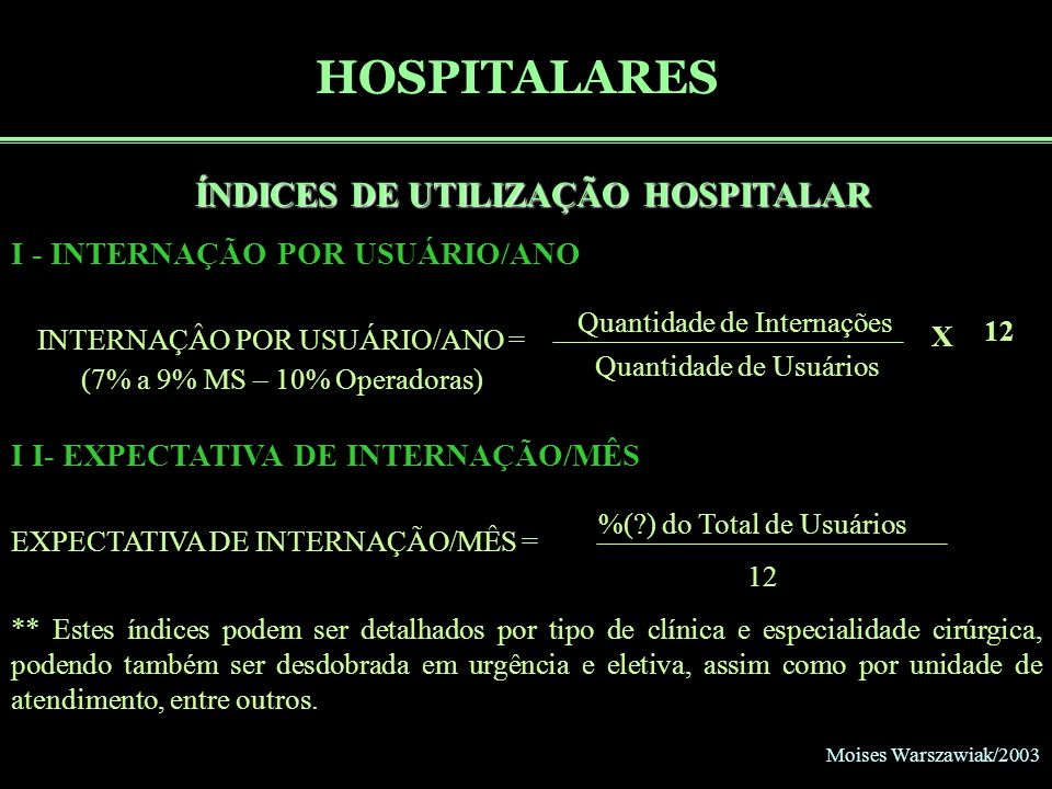 HOSPITALARES ÍNDICES DE UTILIZAÇÃO HOSPITALAR X