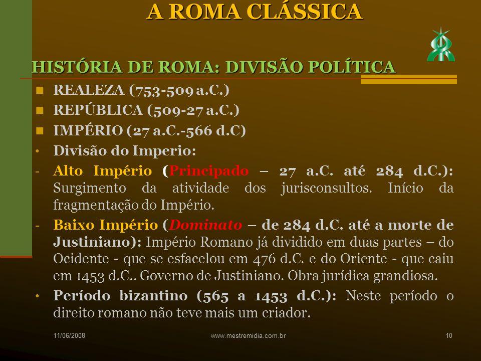 A ROMA CLÁSSICA HISTÓRIA DE ROMA: DIVISÃO POLÍTICA