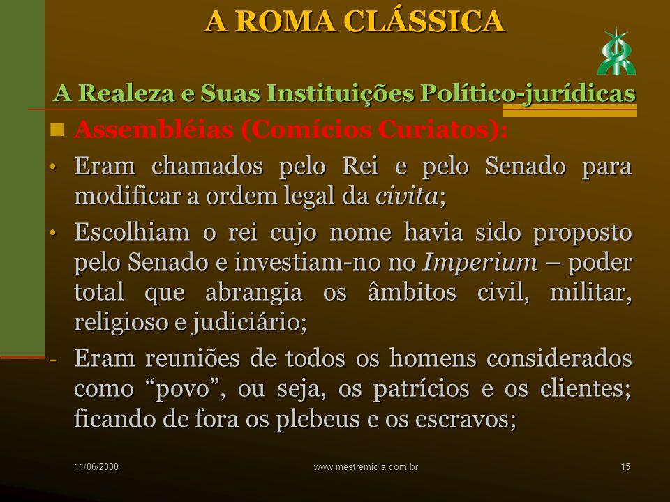 A ROMA CLÁSSICA Assembléias (Comícios Curiatos):