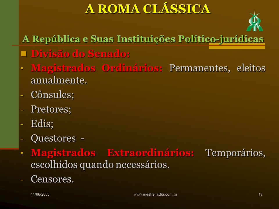 A ROMA CLÁSSICA Divisão do Senado: