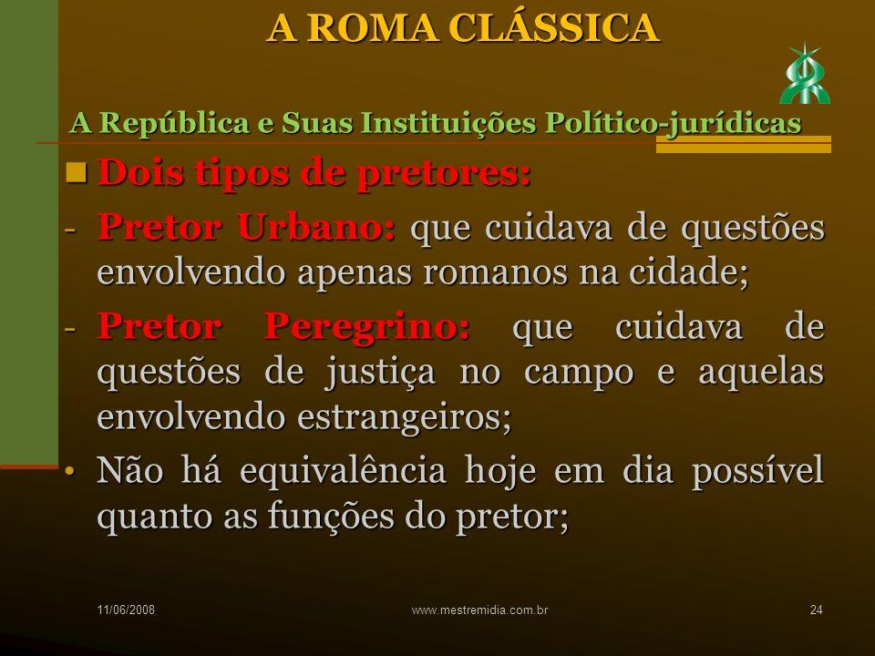 A ROMA CLÁSSICA Dois tipos de pretores: