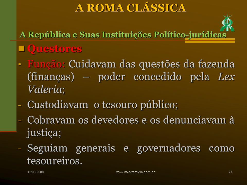 A ROMA CLÁSSICA Questores