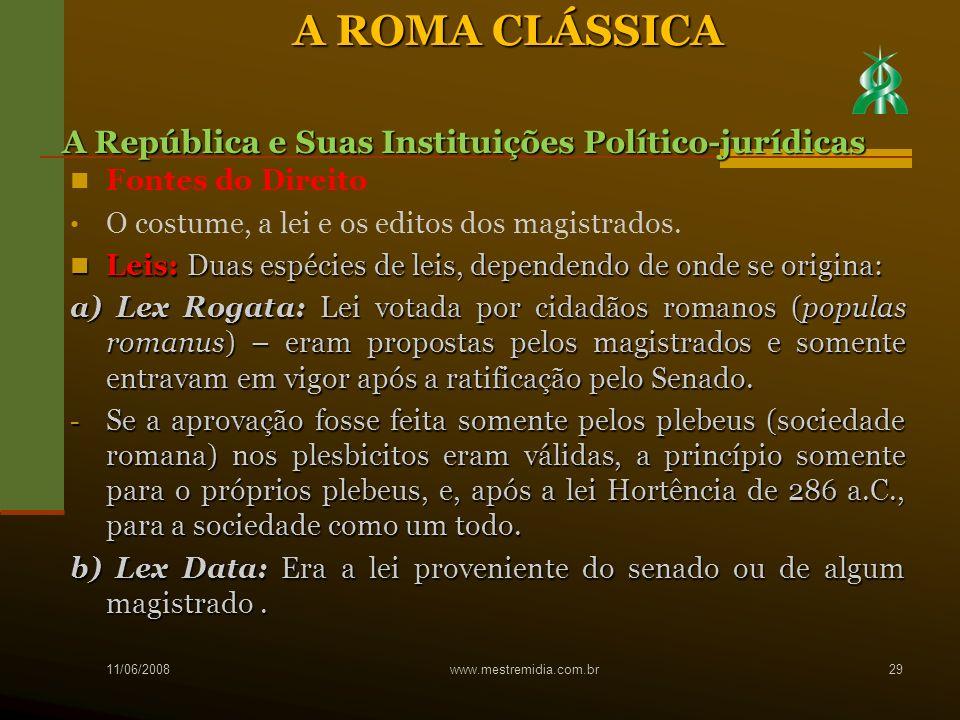 A ROMA CLÁSSICA A República e Suas Instituições Político-jurídicas