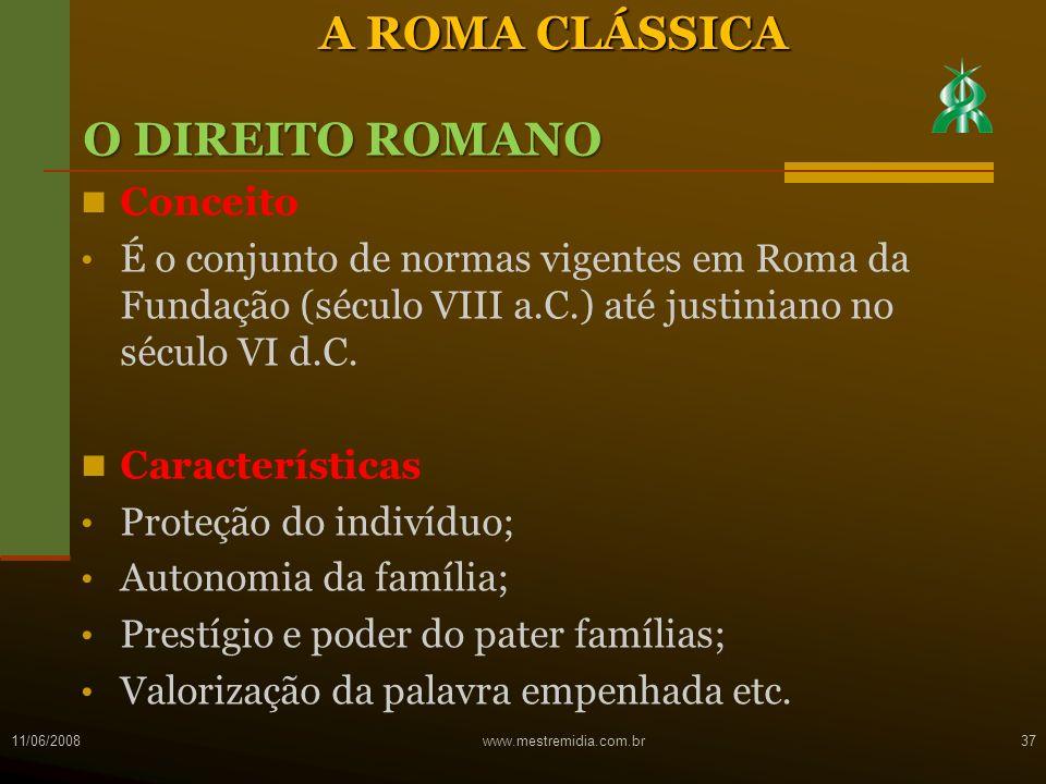 A ROMA CLÁSSICA O DIREITO ROMANO Conceito