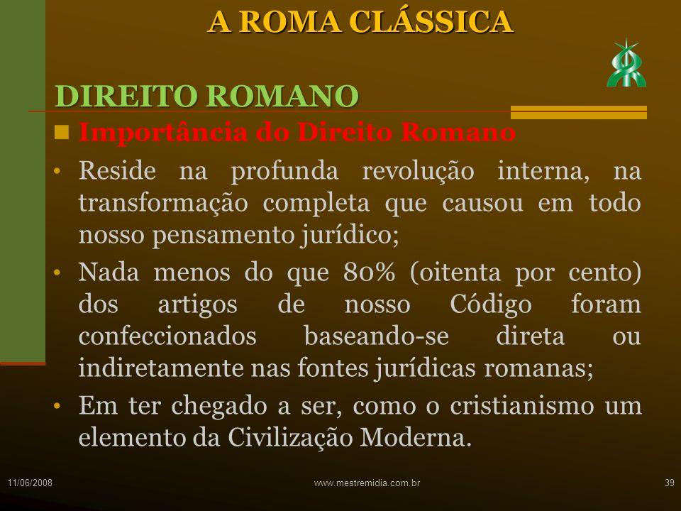 A ROMA CLÁSSICA DIREITO ROMANO Importância do Direito Romano