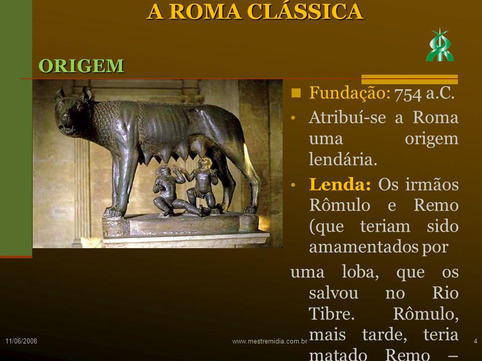 A ROMA CLÁSSICA ORIGEM Fundação: 754 a.C.