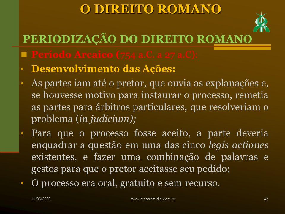 O DIREITO ROMANO PERIODIZAÇÃO DO DIREITO ROMANO
