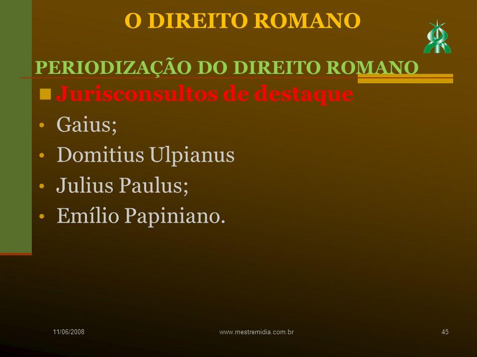 Jurisconsultos de destaque Gaius; Domitius Ulpianus Julius Paulus;