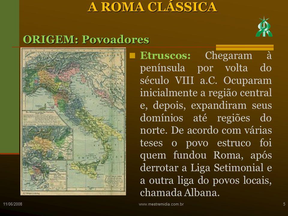 A ROMA CLÁSSICA ORIGEM: Povoadores