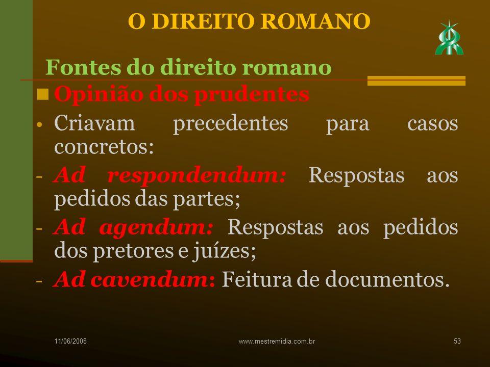 Fontes do direito romano Opinião dos prudentes