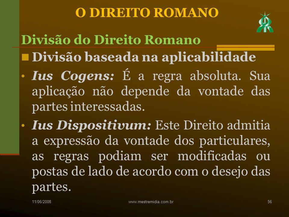 Divisão do Direito Romano Divisão baseada na aplicabilidade