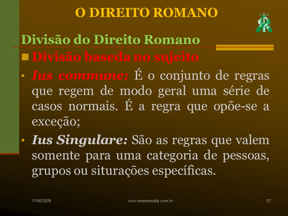 Divisão do Direito Romano Divisão baseda no sujeito