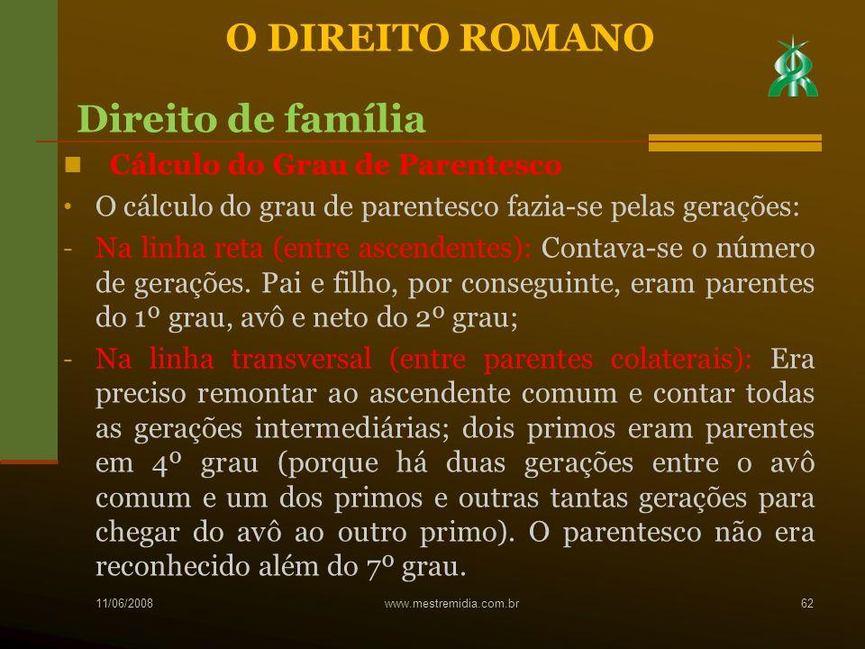 O DIREITO ROMANO Direito de família Cálculo do Grau de Parentesco