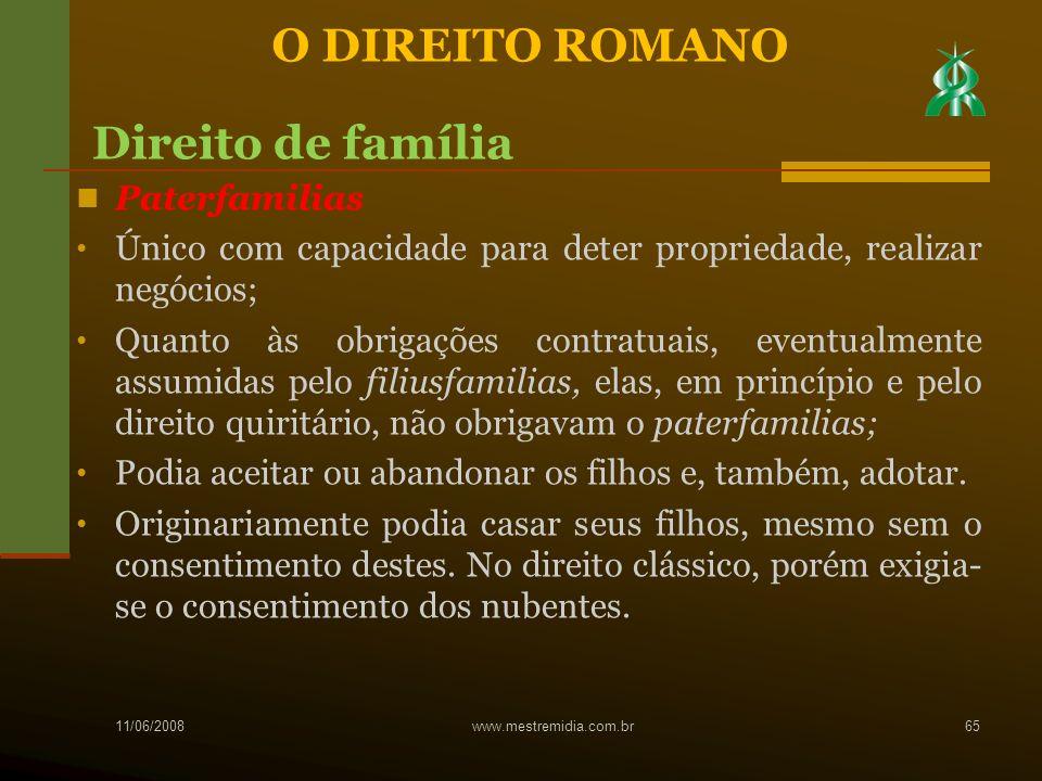 O DIREITO ROMANO Direito de família Paterfamilias
