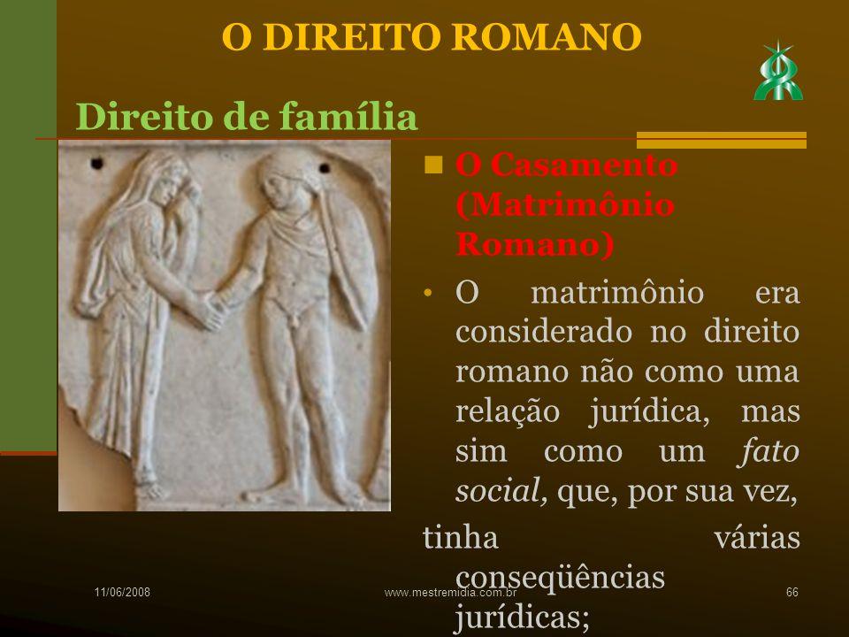 O DIREITO ROMANO Direito de família O Casamento (Matrimônio Romano)