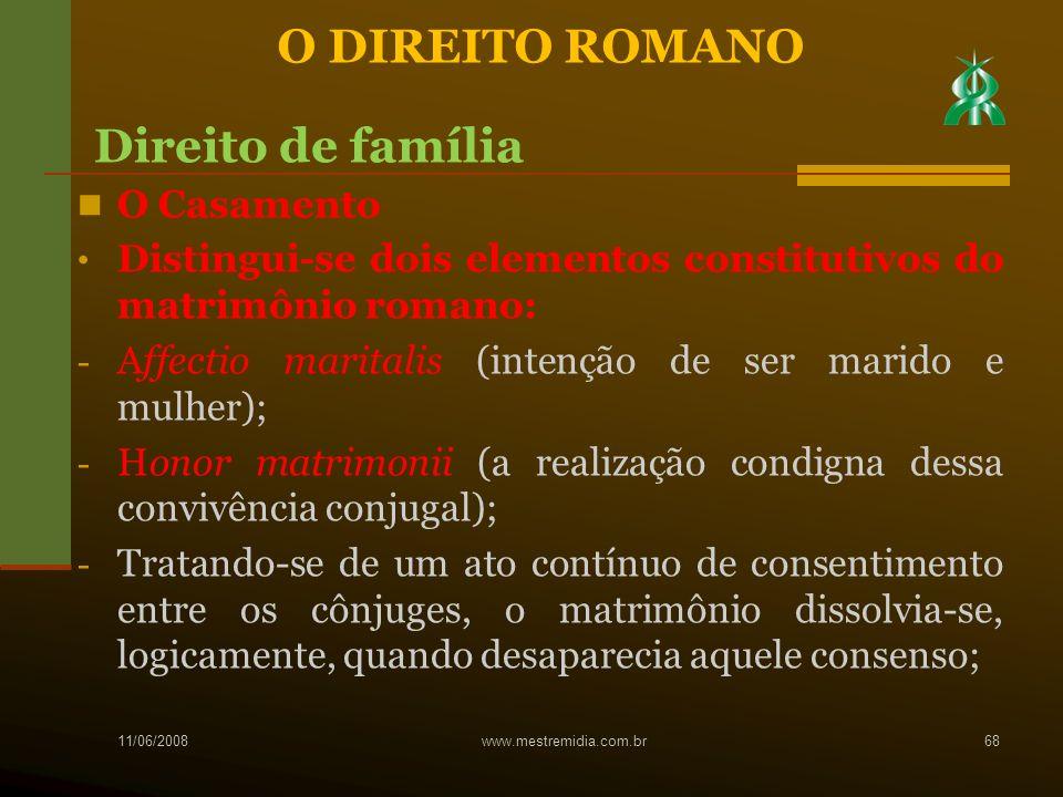 O DIREITO ROMANO Direito de família O Casamento