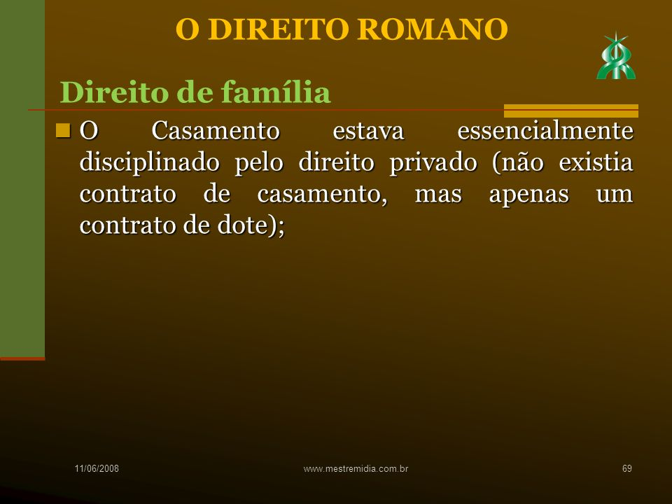 O DIREITO ROMANO Direito de família