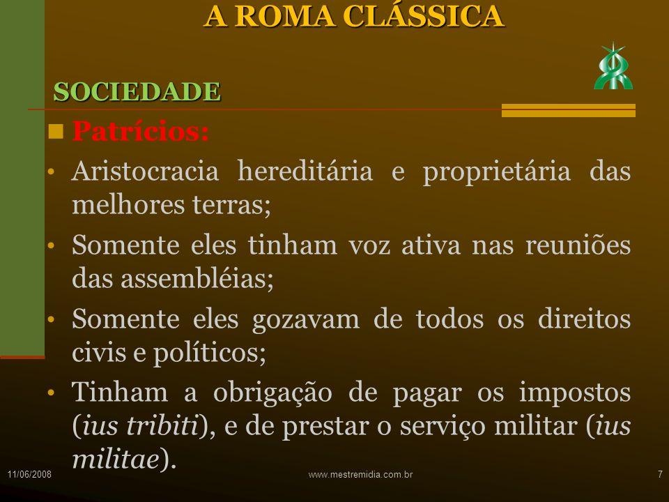 A ROMA CLÁSSICA Patrícios: