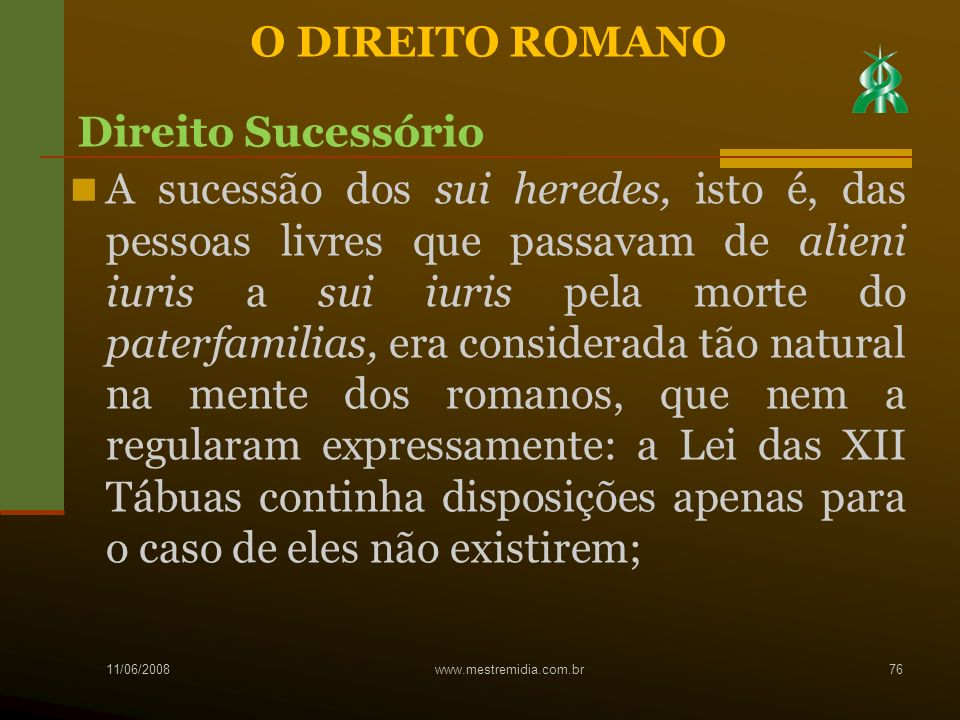 O DIREITO ROMANO Direito Sucessório