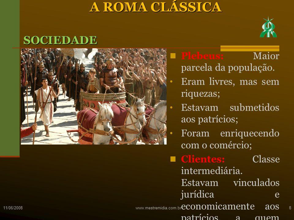 A ROMA CLÁSSICA SOCIEDADE Plebeus: Maior parcela da população.