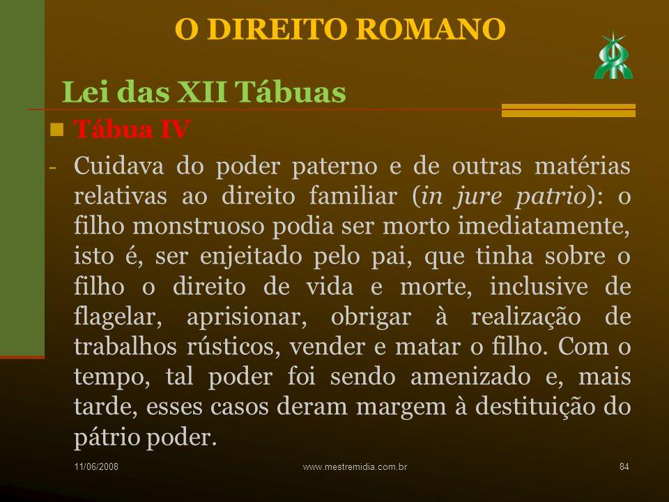 O DIREITO ROMANO Lei das XII Tábuas Tábua IV