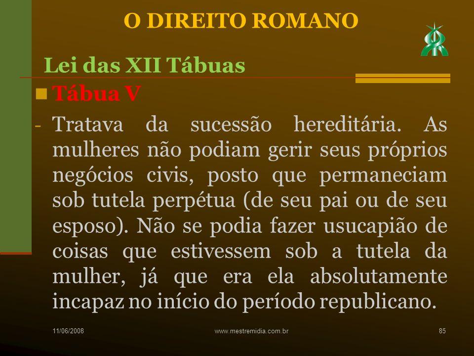 O DIREITO ROMANO Lei das XII Tábuas Tábua V