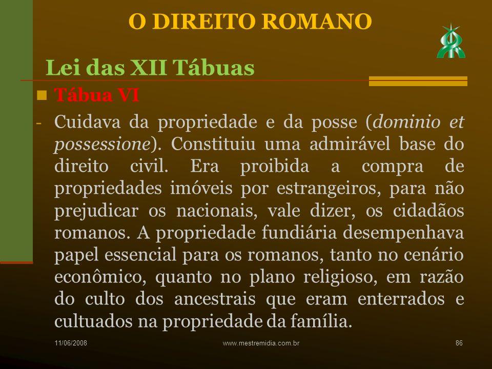 O DIREITO ROMANO Lei das XII Tábuas Tábua VI