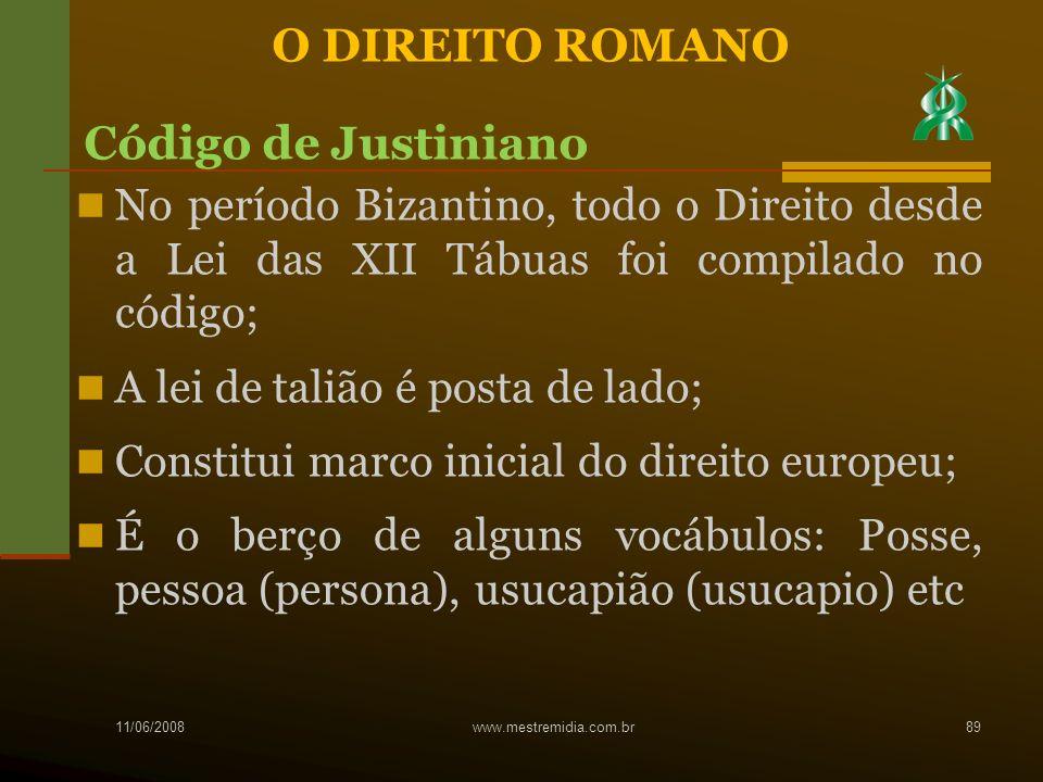 O DIREITO ROMANO Código de Justiniano