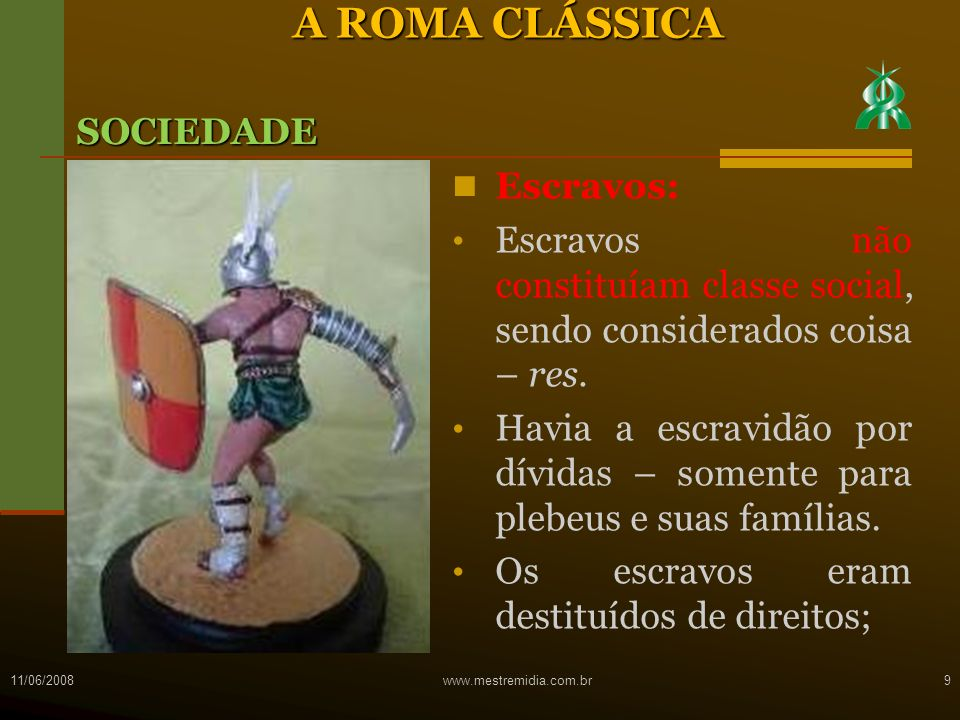 A ROMA CLÁSSICA SOCIEDADE Escravos:
