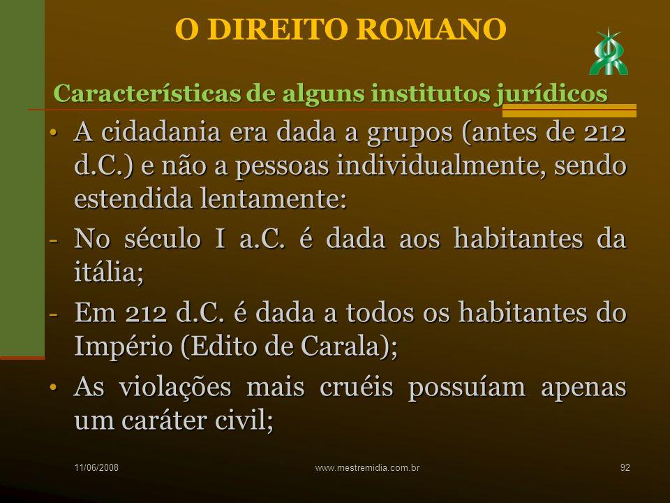 O DIREITO ROMANO Características de alguns institutos jurídicos.
