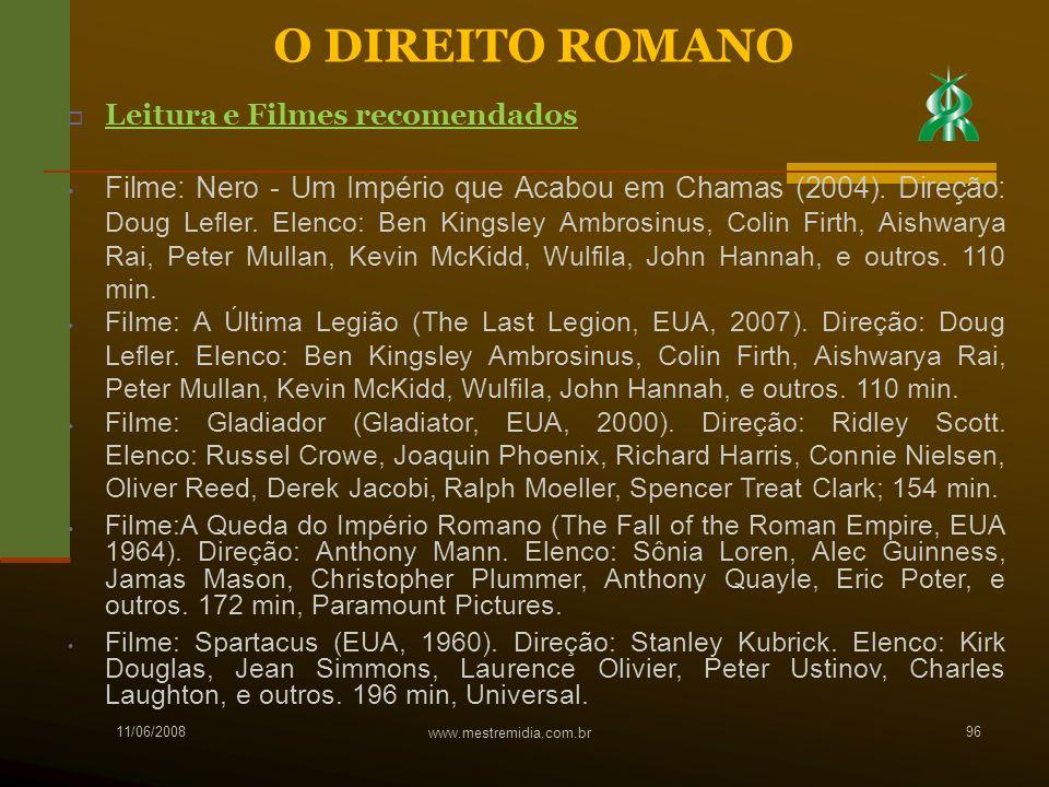 O DIREITO ROMANO Leitura e Filmes recomendados