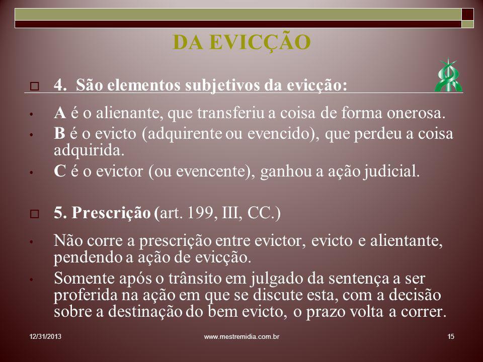 DA EVICÇÃO 4. São elementos subjetivos da evicção: