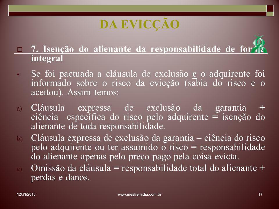 DA EVICÇÃO7. Isenção do alienante da responsabilidade de forma integral.