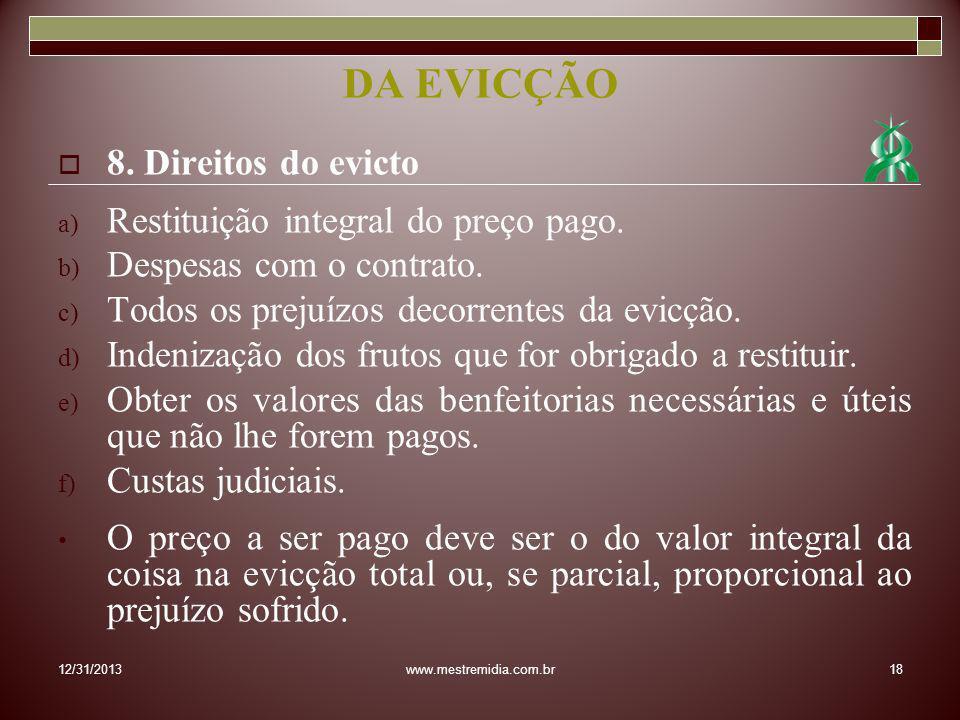 DA EVICÇÃO 8. Direitos do evicto Restituição integral do preço pago.